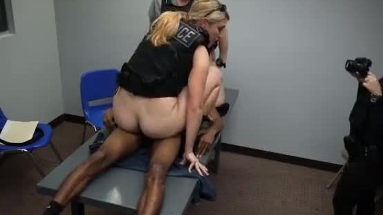 White Female Cops Riding Black Suspects Dick In Interogation Room
