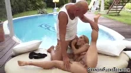Teen tugs old guy for cum
