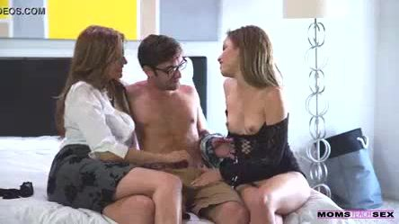 Step mom fucks son in hot threesome