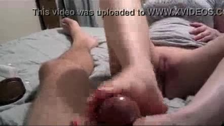 Amateur footjob from my wife with cumshot and pussy