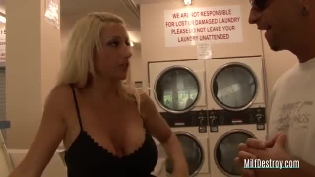 Blonde picked up while doing the laundry
