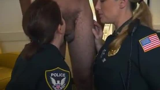White Female Cops In Uniform Sucking Black Dong Together