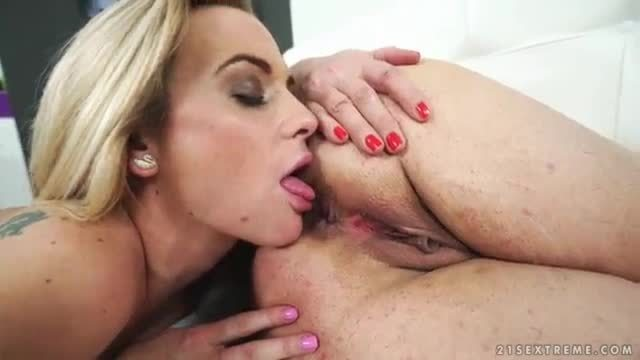 Ass licking old and young lesbian couple