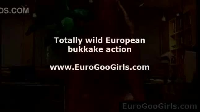 Cum facials for European bukkake sluts from group