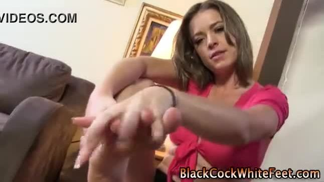 Interracial footjob slut shows off